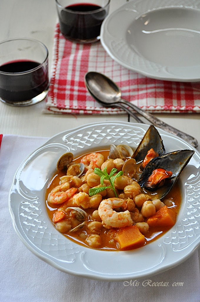 Chickpea and seafood stew